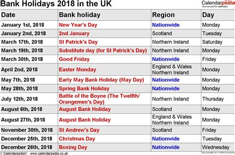 Calendar 2018 Showing Bank Holidays Bank Holidays 2018 In The Uk