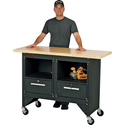 torin big red 54in mobile workbench with hardwood top