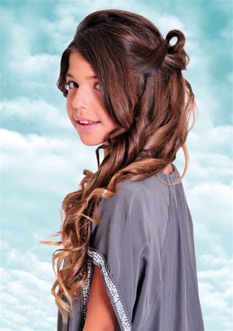 long curled and looped teen girls hairstyle for