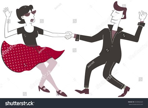 tutorial dance rock and roll dancing rock roll retro style illustration stock vector