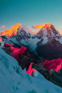 colorful mountains snow trippy cool hippie lsd landscape acid trip