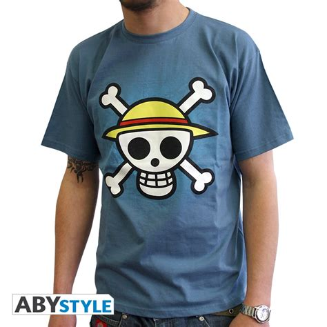T Shirt One one t shirt one skull with map blue abystyle