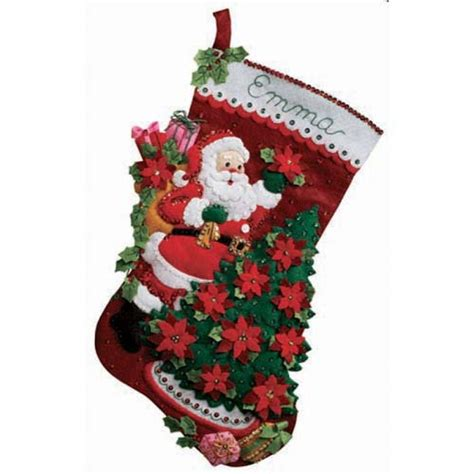 felt applique kits santa poinsettia tree bucilla kit