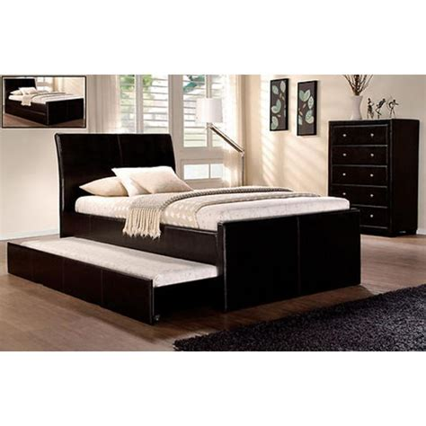 pu leather king single bed frame w full trundle bed in