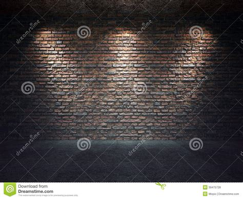 House Design Inside Simple by Old Brick Wall Illuminated By Spotlights Stock Photo