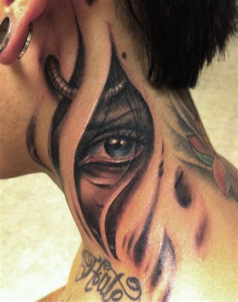 eye tattoo designs for men biomechanical eye on neck for tattooshunt