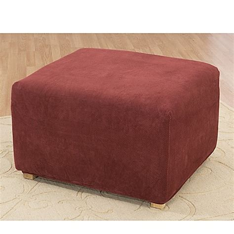 ottoman covers bed bath beyond stretch pique garnet ottoman cover by sure fit 174 bed bath