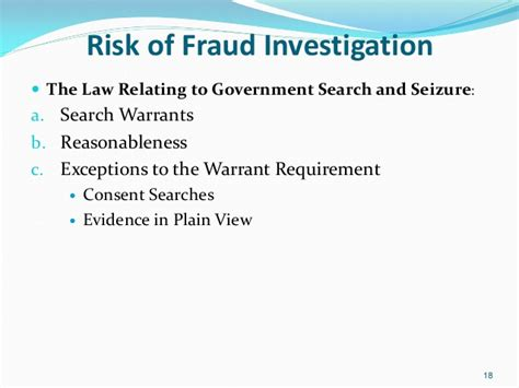 Exceptions To Search Warrants Managing The Fraud If Fraud Investigation From