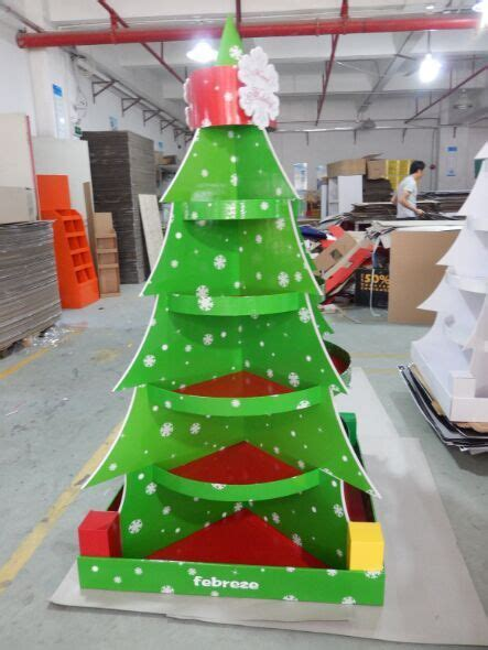 christmas tree cardboard floor display stand full color