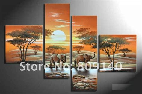 oil painting decoration african landscape elephant modern