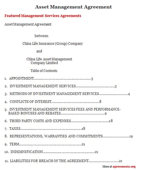 Asset Management Agreement Sle Asset Management Agreement Template Management Contract Template
