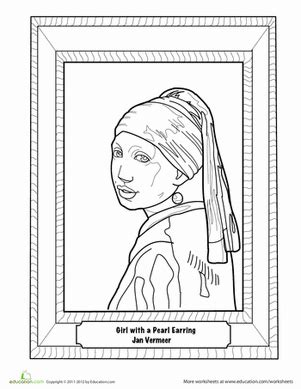 Girl With A Pearl Earring Painting Worksheet Education Com With The Pearl Earring Coloring Page Printable