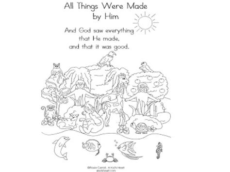 coloring page god created animals bible lessons lesson 1