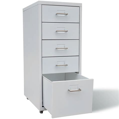 Metal Filing Cabinet with 5 Drawers Gray   vidaXL.com