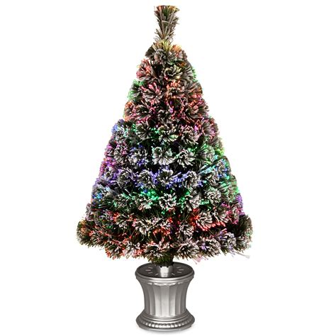 national tree company fiber optic evergreen flocked tree