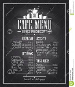 chalkboard cafe menu list design with dishes name stock