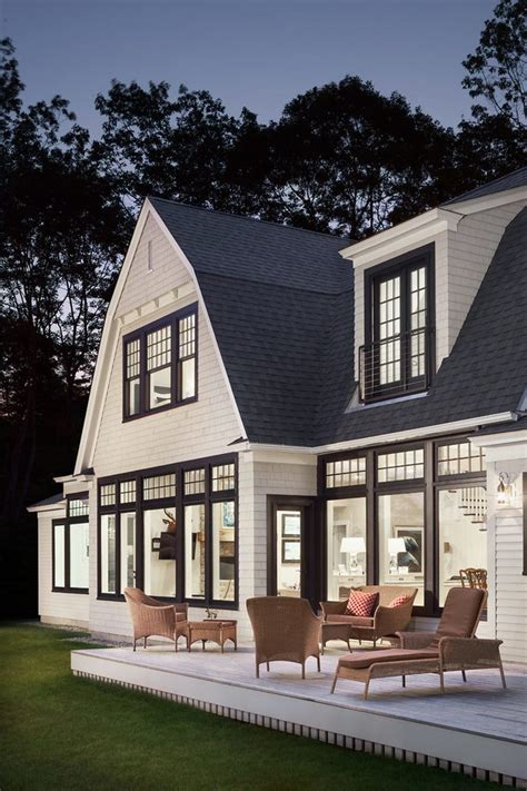 Gambrel Roofs black window trim exterior exterior beach style with