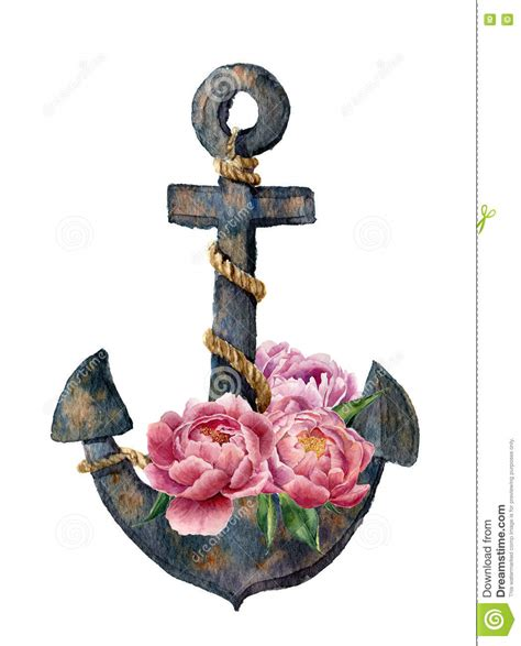 L Cm0023 Anchor And Flowers watercolor retro anchor with rope and peony flowers