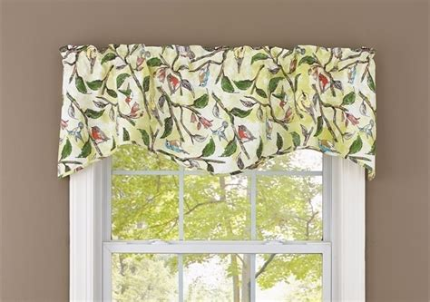 bird window curtains bird song lined wave valance green leaf tree flowers