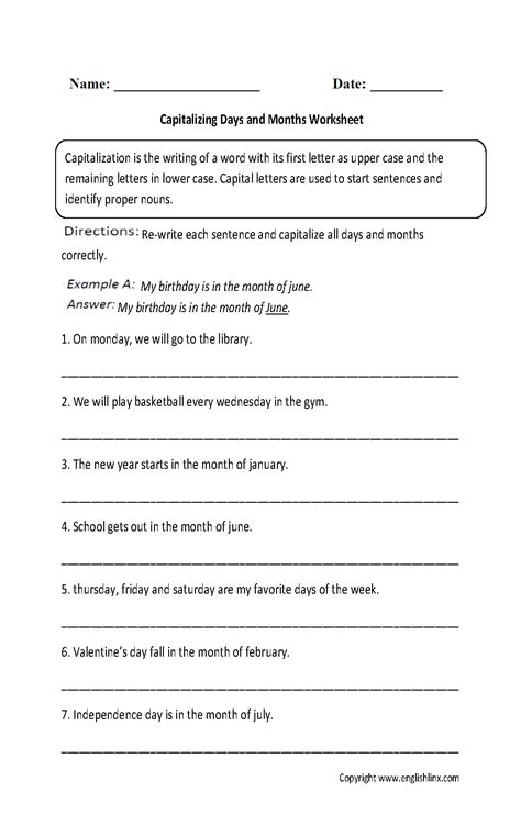 Capitalization Worksheets by Englishlinx Capitalization Worksheets