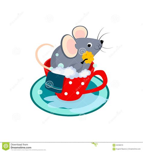 mouse in bathroom cute cartoon mouse in the bath of cup vector stock illustration image 62238379