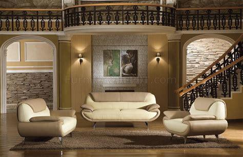 light brown beige  tone leather pc living room set