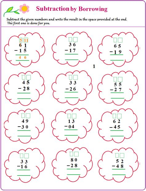 Subtraction With Borrowing Worksheets by Worksheet On Borrow And Subtract