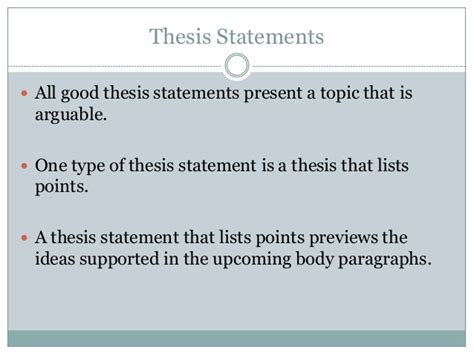 types of dissertation thesis statements with points listed