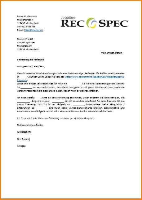 Bewerbungsschreiben Ferienjob Student Vorlage 6 anschreiben ferienjob questionnaire templated