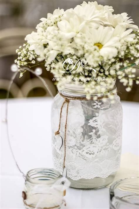 bridal shower table decorations with jars 274 best lace wedding decorations images on centerpiece ideas centerpieces and