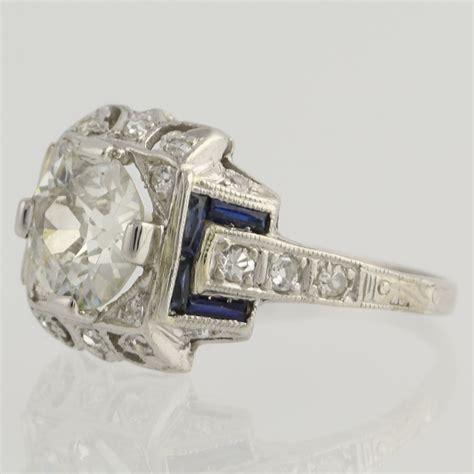 deco engagement rings sapphire deco sapphire engagement ring platinum s 1 60ctw ebay