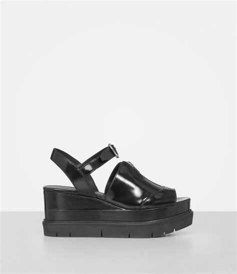 allsaints gino platform wedge sandals in black lyst