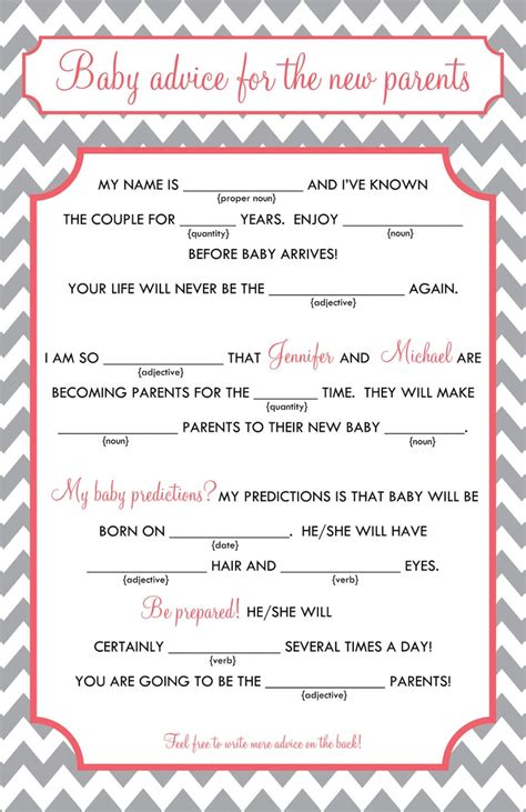 Mad Libs Baby Shower Printable by Baby Mad Libs Baby Advice Printable Digital File 15