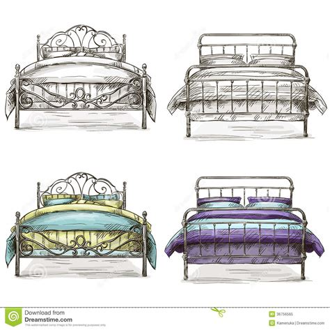 bed sketch set of beds drawing sketch style royalty free stock photo