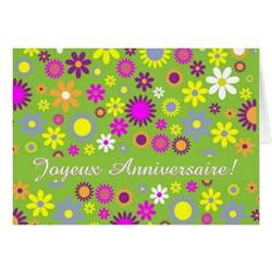 cheerful floral happy birthday in french card zazzle