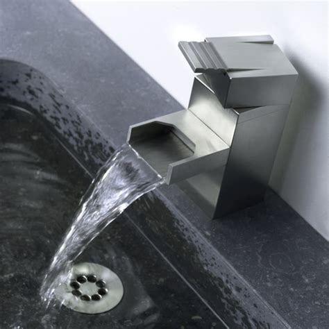 Stainless Steel Bathroom Fixtures Contemporary Waterfall Faucet With Industrial Design By Balance Digsdigs