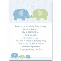 blue and green lovely elephant baby invitations bs213