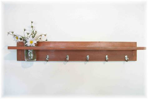 wood wall shelf hooks rustic burnt orange color shabby chic