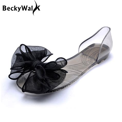 Bara Bara Jelly Shoes Flat Casual 1 sweet bowknot sandals summer jelly shoes transparent flats casual