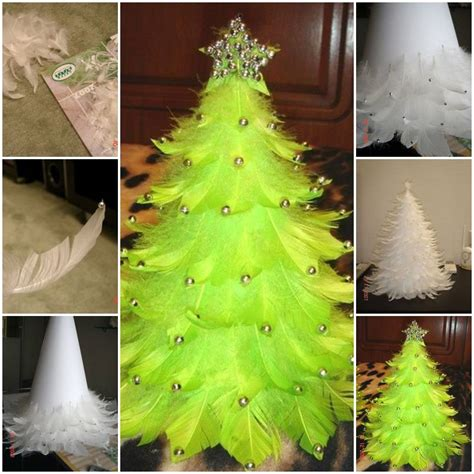 how to make christmas tree out of feathers step by step