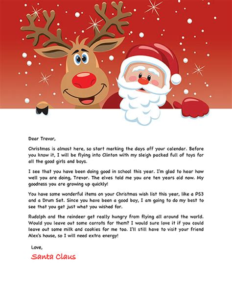 Letters From Santa Templates Cyberuse Free Santa Reply Letter Template
