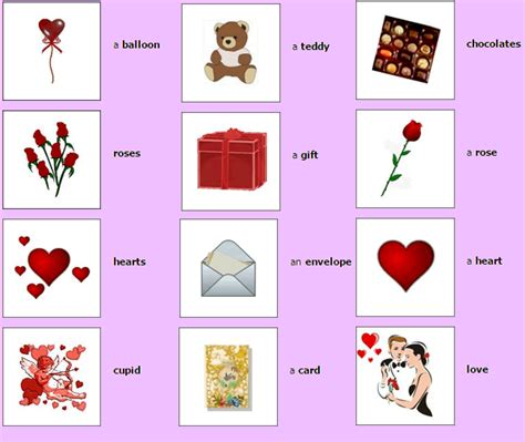 valentines day vocabulary vocabulary with pictures and a to z words