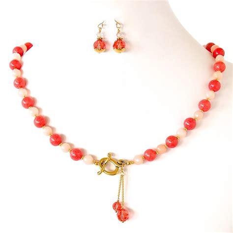 coral colored necklace poppy coral colored necklace set earth and moon design
