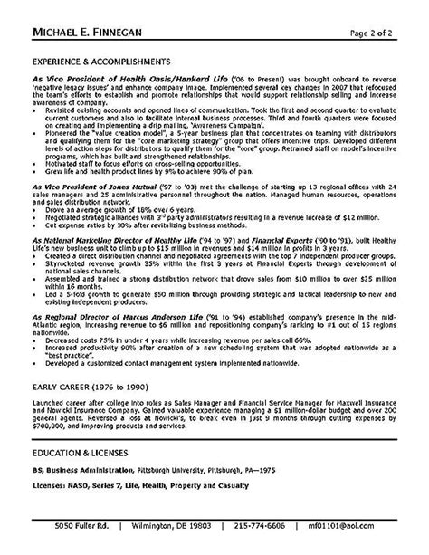 Insurance Executive Sle Resume by Insurance Resume Exle Sle