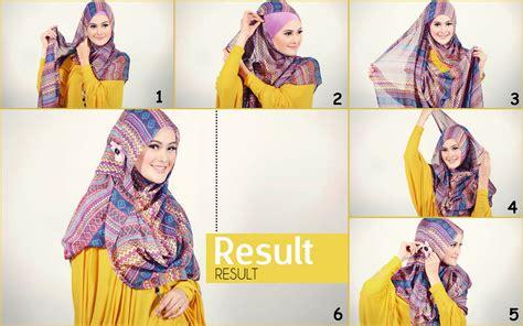 tutorial hijab simple ala april jasmin cara memakai jilbab pashmina kaos modern glitter