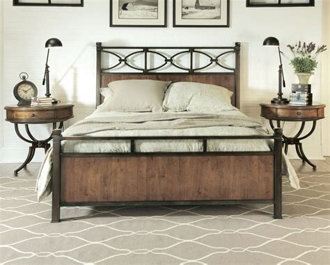 Metal Bed Sets American Drew New River 3 Metal Bedroom Set In Rustic Alder Beyond Stores