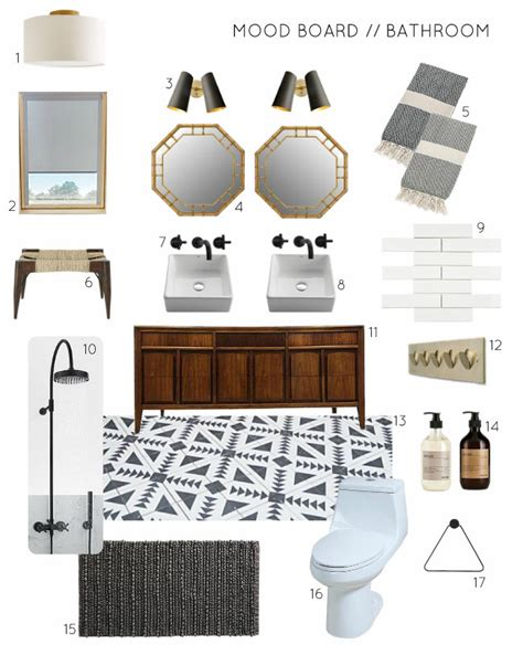 Mood board a black and white bathroom with wood and brass accents emmerson and fifteenth