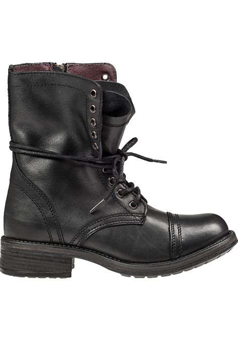 steve madden tropa 2 0 lace up boot black leather in black