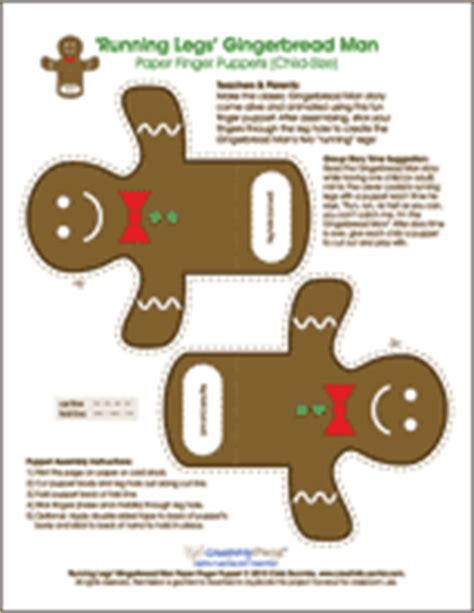 the gingerbread man printable finger puppets a to z kids stuff gingerbread man theme