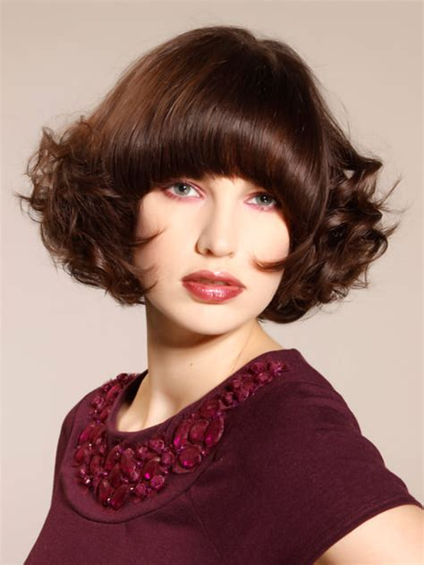 hairstyle hidden stack full curly lush bob with bangs bangin bobs pinterest